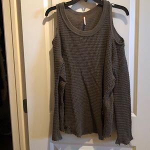 FreePeople olive cold shoulder lightweight sweater